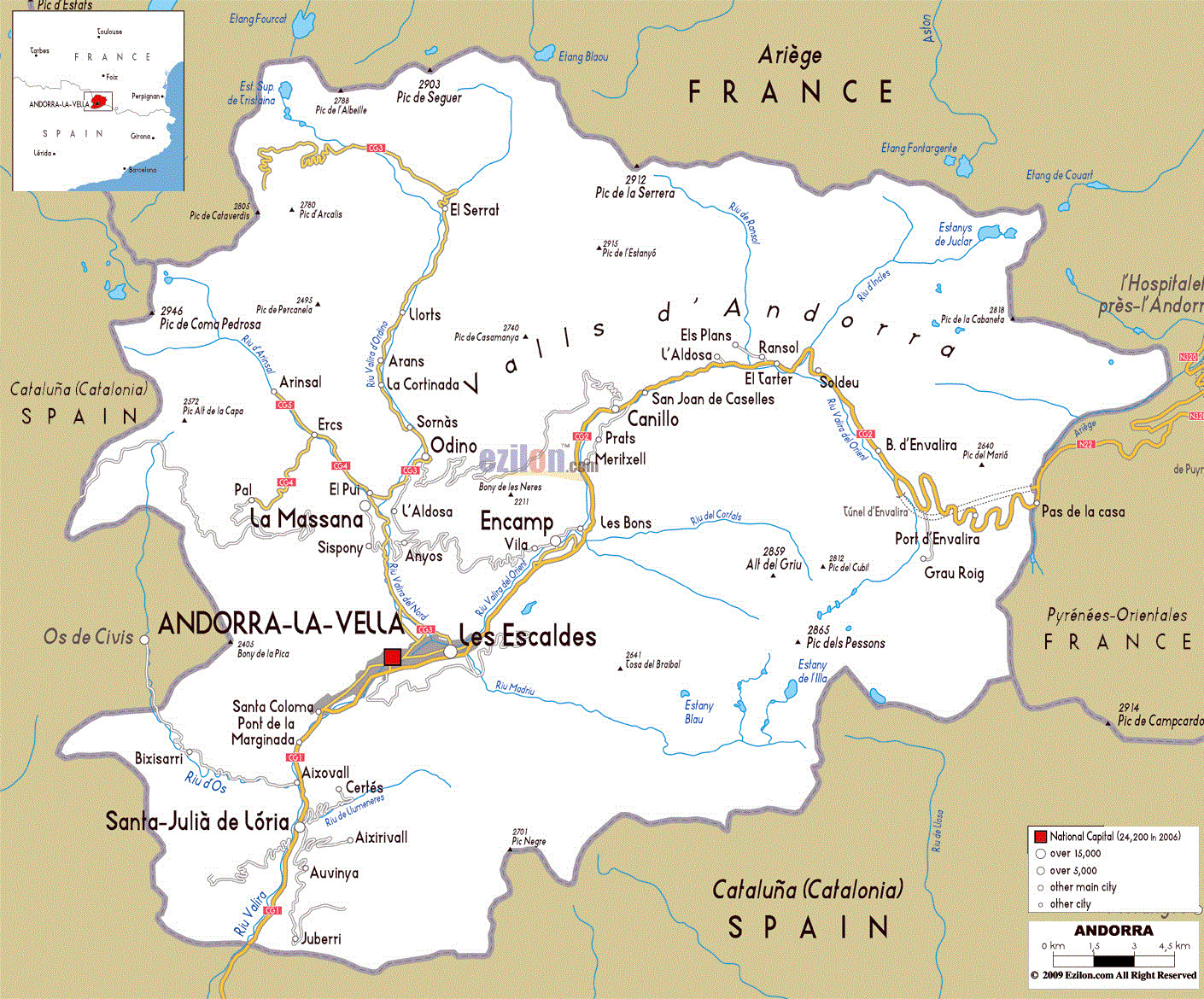 Picture of: Road Map Of Andorra Andorra Europe Mapslex World Maps